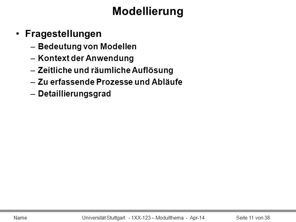 Modellierung Fragestellungen –Bedeutung von Modellen –Kontext der Anwendung –Zeitliche und räumliche Auflösung –Zu erfassende Prozesse und Abläufe –De