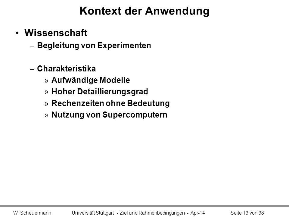 Kontext der Anwendung Wissenschaft –Begleitung von Experimenten –Charakteristika »Aufwändige Modelle »Hoher Detaillierungsgrad »Rechenzeiten ohne Bede