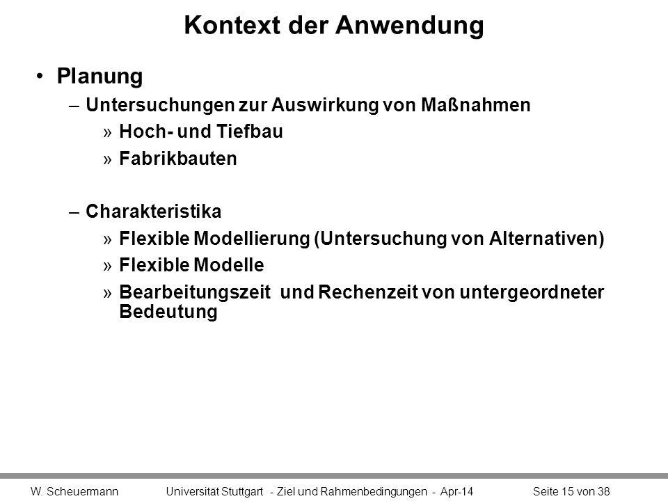 Kontext der Anwendung Planung –Untersuchungen zur Auswirkung von Maßnahmen »Hoch- und Tiefbau »Fabrikbauten –Charakteristika »Flexible Modellierung (U
