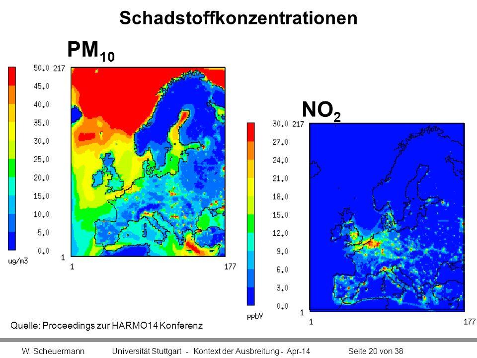 Schadstoffkonzentrationen W. Scheuermann Universität Stuttgart - Kontext der Ausbreitung - Apr-14Seite 20 von 38 NO 2 Quelle: Proceedings zur HARMO14