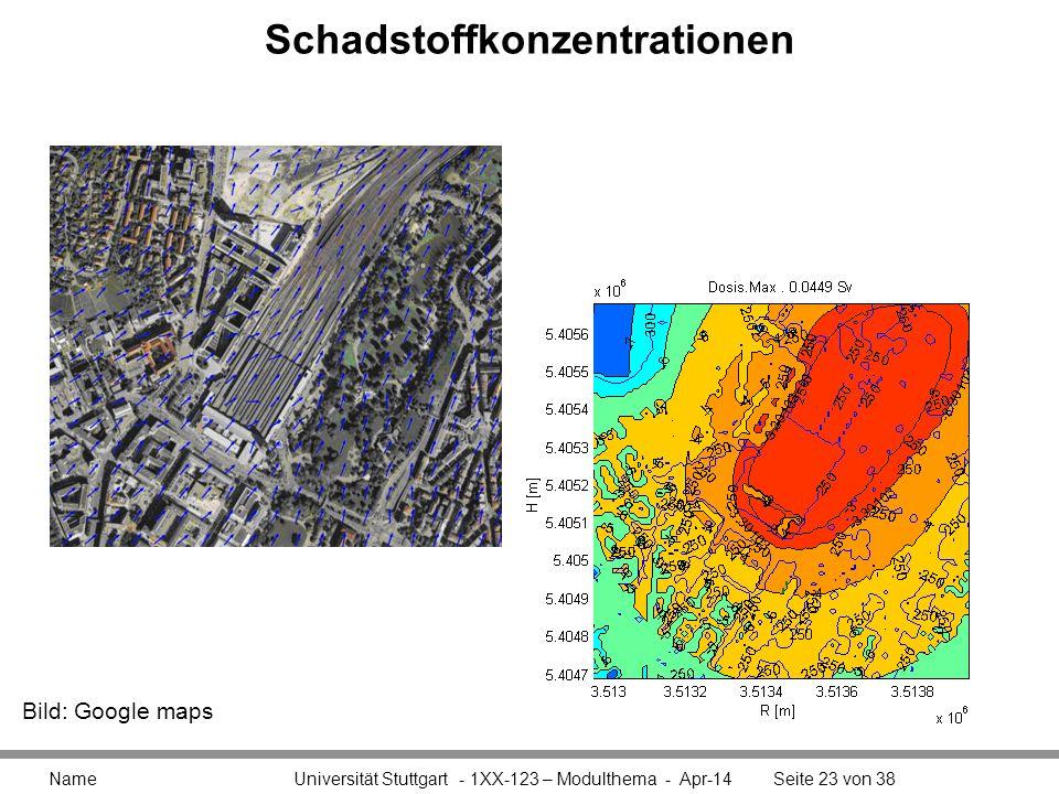 Schadstoffkonzentrationen Name Universität Stuttgart - 1XX-123 – Modulthema - Apr-14Seite 23 von 38 Bild: Google maps