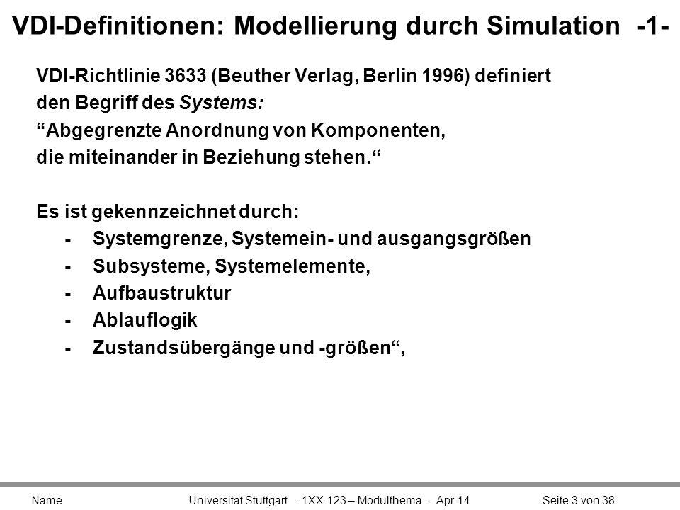 VDI-Definitionen: Modellierung durch Simulation -1- VDI-Richtlinie 3633 (Beuther Verlag, Berlin 1996) definiert den Begriff des Systems: Abgegrenzte A
