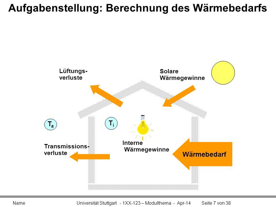 Aufgabenstellung: Berechnung des Wärmebedarfs Name Universität Stuttgart - 1XX-123 – Modulthema - Apr-14Seite 7 von 38 TaTa Transmissions- verluste So