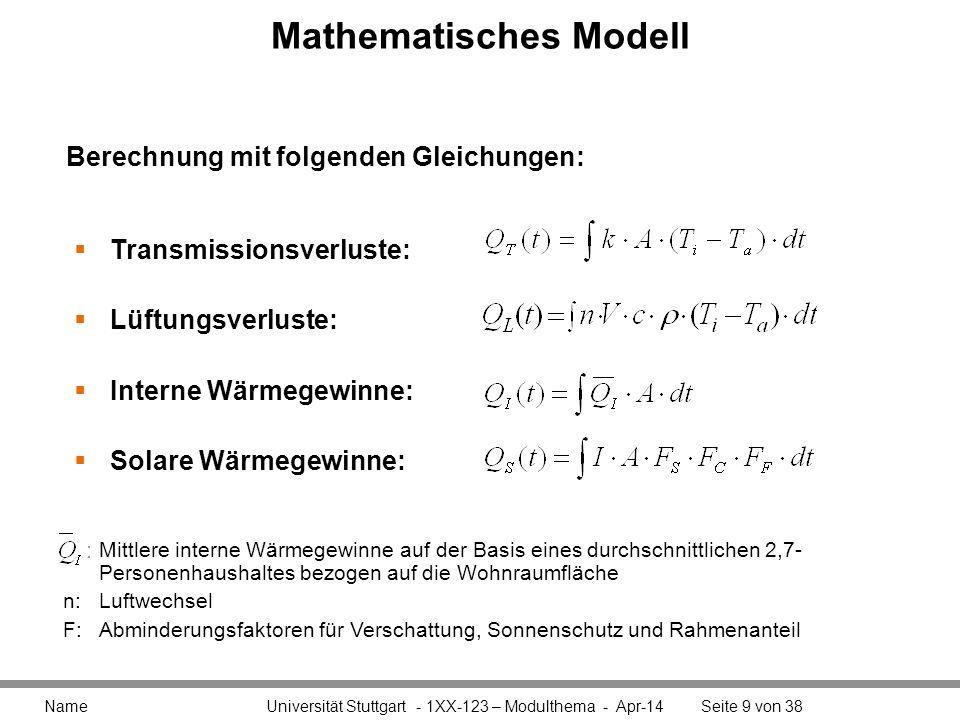 Mathematisches Modell Name Universität Stuttgart - 1XX-123 – Modulthema - Apr-14Seite 9 von 38 Transmissionsverluste: Lüftungsverluste: Interne Wärmeg