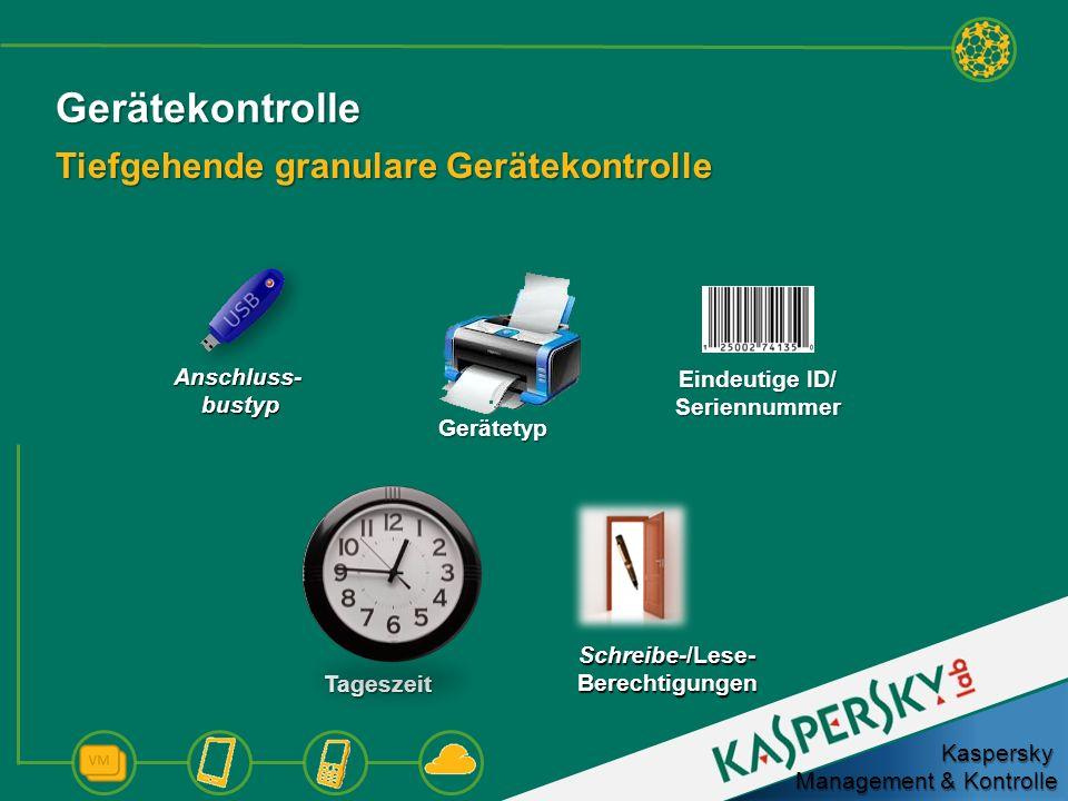 Gerätekontrolle Tiefgehende granulare Gerätekontrolle Kaspersky Management & Kontrolle Eindeutige ID/ Seriennummer Tageszeit Schreibe-/Lese- Berechtig