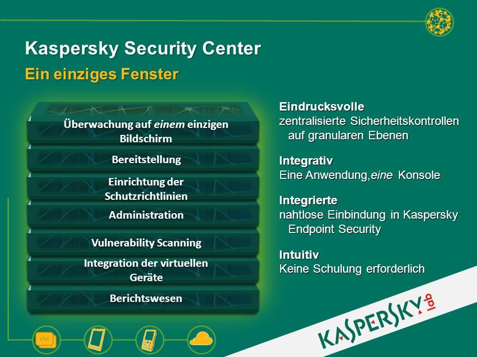 Kaspersky Security Center Ein einziges Fenster Bereitstellung Administration Überwachung auf einem einzigen Bildschirm Berichtswesen Einrichtung der S