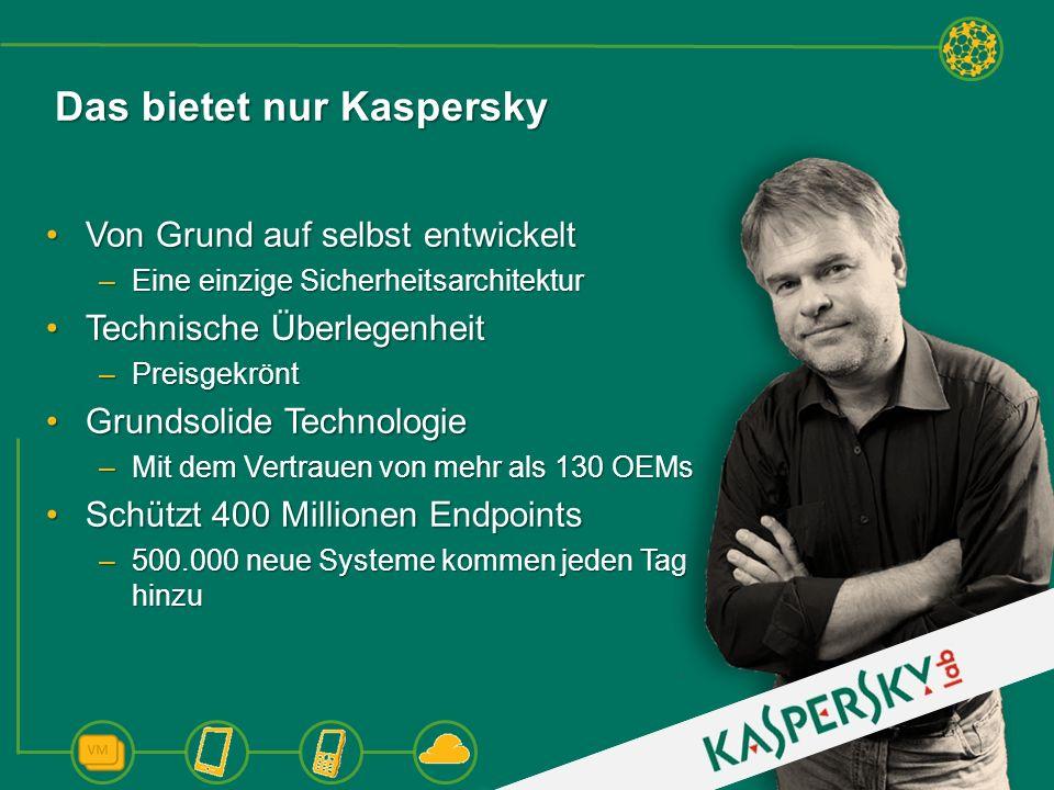 Das bietet nur Kaspersky Von Grund auf selbst entwickeltVon Grund auf selbst entwickelt –Eine einzige Sicherheitsarchitektur Technische ÜberlegenheitT