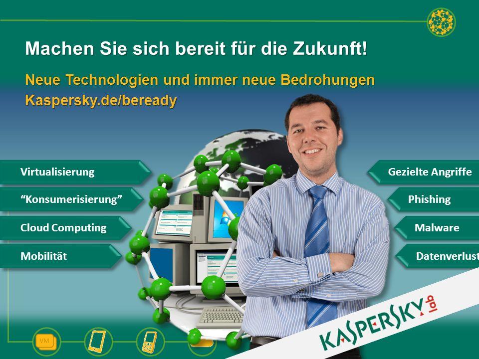 Neue Technologien und immer neue Bedrohungen Kaspersky.de/beready Machen Sie sich bereit für die Zukunft! Gezielte Angriffe Datenverlust Mobilität Vir