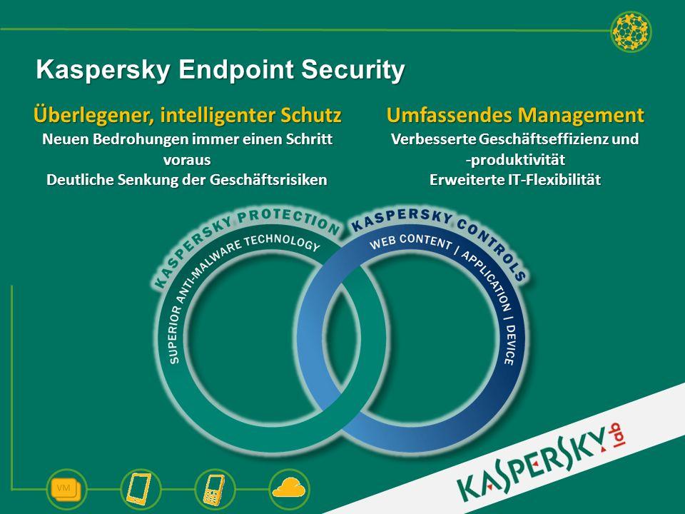 Überlegene Malware-Erkennungstechnologie Drei Malware-Engines Deep Root Core Scanner Umfassende, Cloud- basierte Reputations- datenbank QScan QScan Root Scanner Kaspersky Intelligenter Schutz