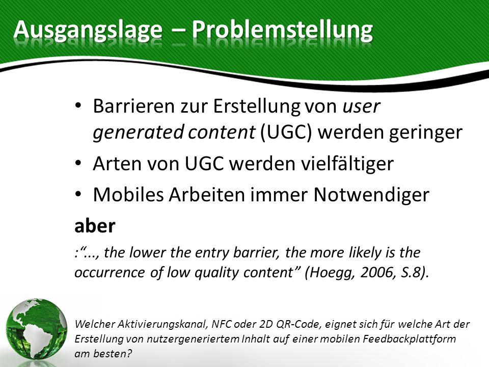 Barrieren zur Erstellung von user generated content (UGC) werden geringer Arten von UGC werden vielfältiger Mobiles Arbeiten immer Notwendiger aber :.
