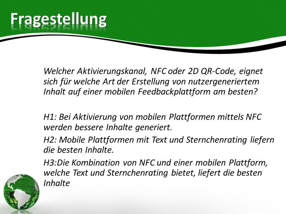 H1: Bei Aktivierung von mobilen Plattformen mittels NFC werden bessere Inhalte generiert. H2: Mobile Plattformen mit Text und Sternchenrating liefern