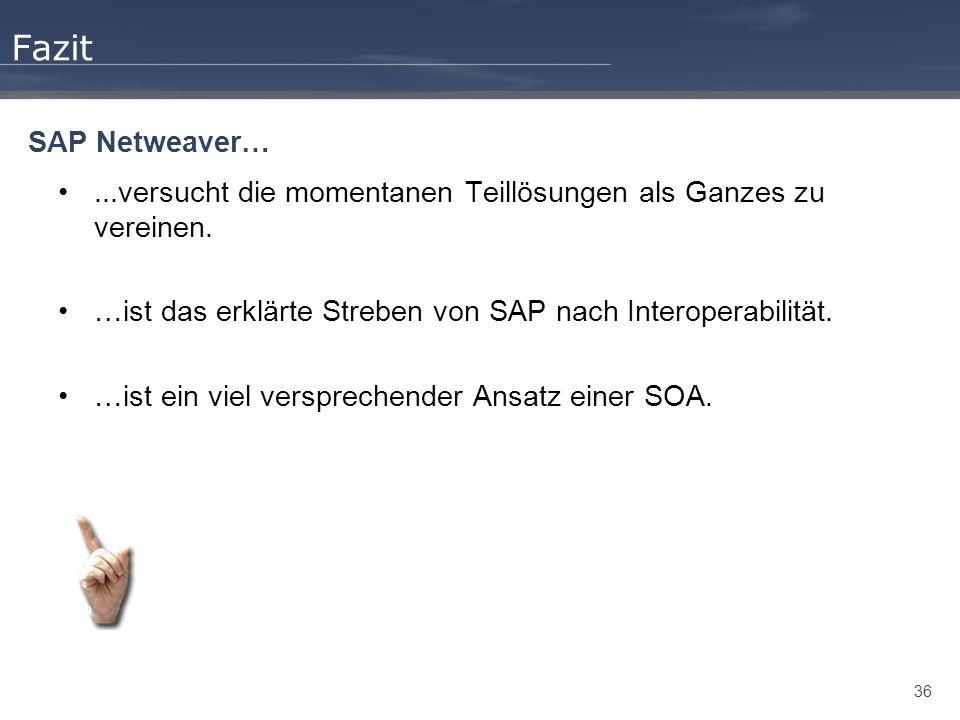 36 Fazit...versucht die momentanen Teillösungen als Ganzes zu vereinen. …ist das erklärte Streben von SAP nach Interoperabilität. …ist ein viel verspr