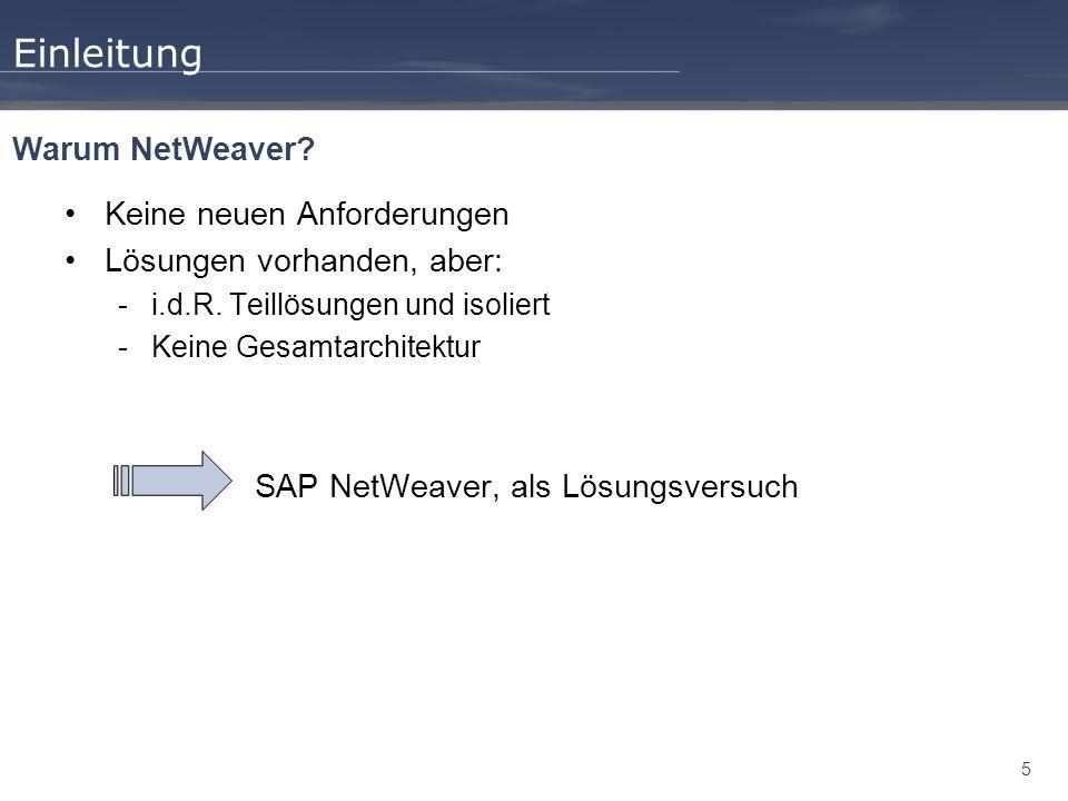 5 Einleitung Keine neuen Anforderungen Lösungen vorhanden, aber: -i.d.R. Teillösungen und isoliert -Keine Gesamtarchitektur SAP NetWeaver, als Lösungs