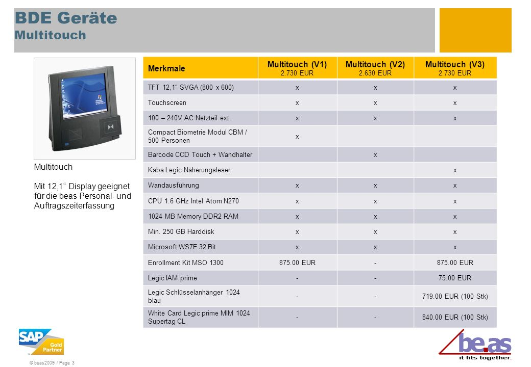 © beas2009 / Page 3 BDE Geräte Multitouch Merkmale Multitouch (V1) 2.730 EUR Multitouch (V2) 2.630 EUR Multitouch (V3) 2.730 EUR TFT 12,1 SVGA (800 x
