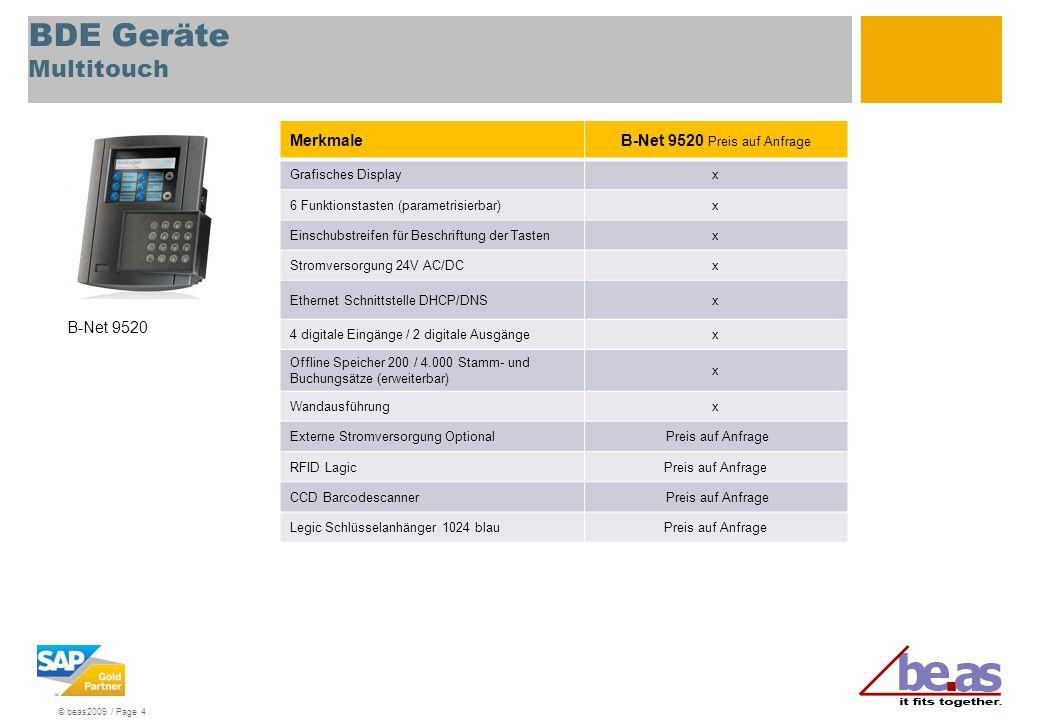 © beas2009 / Page 4 BDE Geräte Multitouch MerkmaleB-Net 9520 Preis auf Anfrage Grafisches Displayx 6 Funktionstasten (parametrisierbar)x Einschubstrei