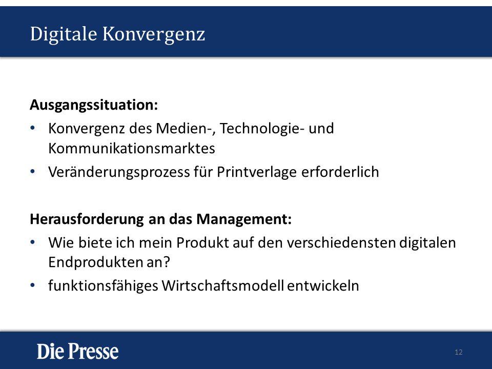 Digitale Konvergenz Ausgangssituation: Konvergenz des Medien-, Technologie- und Kommunikationsmarktes Veränderungsprozess für Printverlage erforderlich Herausforderung an das Management: Wie biete ich mein Produkt auf den verschiedensten digitalen Endprodukten an.
