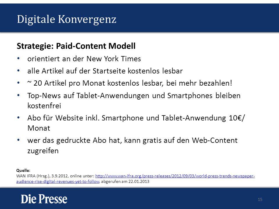 Digitale Konvergenz Strategie: Paid-Content Modell orientiert an der New York Times alle Artikel auf der Startseite kostenlos lesbar ~ 20 Artikel pro Monat kostenlos lesbar, bei mehr bezahlen.