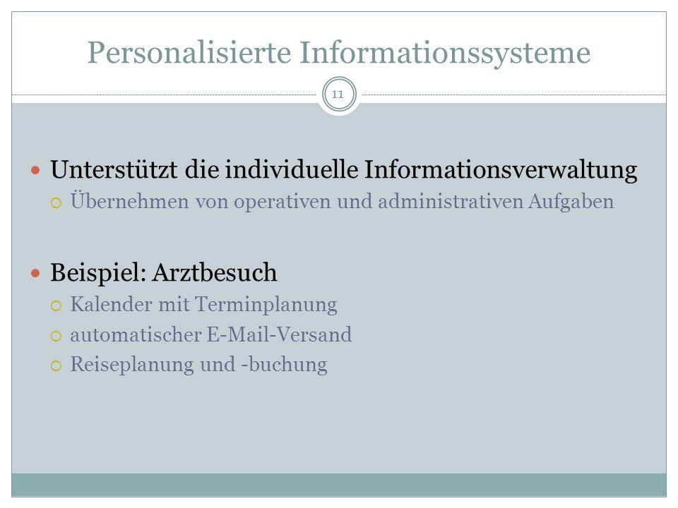 Personalisierte Informationssysteme Unterstützt die individuelle Informationsverwaltung Übernehmen von operativen und administrativen Aufgaben Beispie