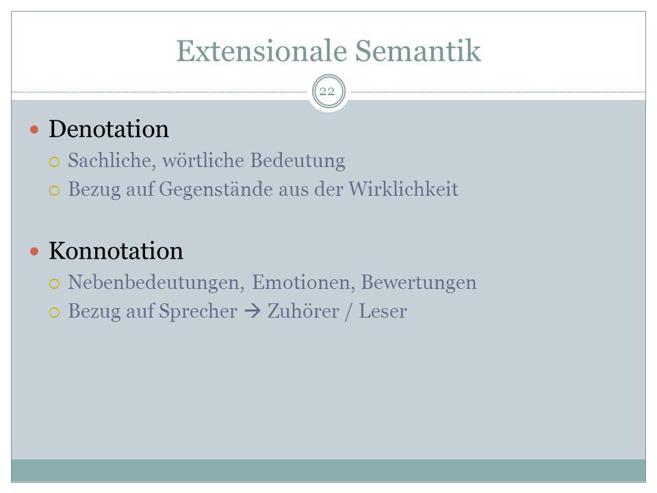 Extensionale Semantik Denotation Sachliche, wörtliche Bedeutung Bezug auf Gegenstände aus der Wirklichkeit Konnotation Nebenbedeutungen, Emotionen, Be