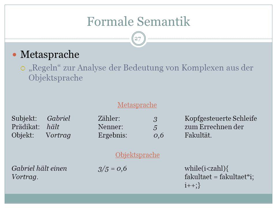 Formale Semantik Metasprache Regeln zur Analyse der Bedeutung von Komplexen aus der Objektsprache Subjekt: Gabriel Prädikat: hält Objekt: Vortrag Gabr
