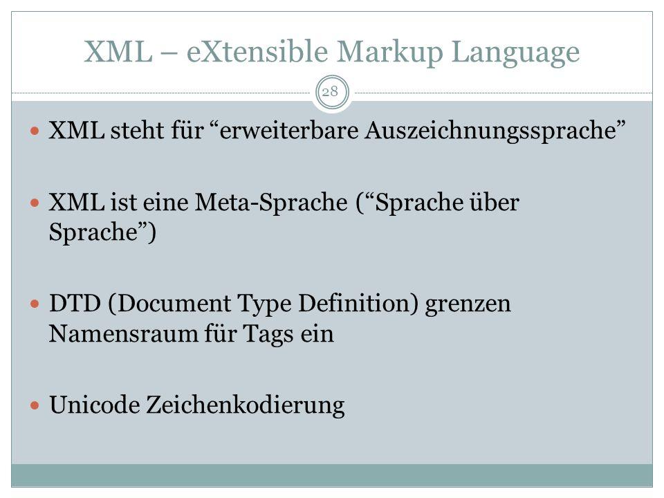 XML – eXtensible Markup Language XML steht für erweiterbare Auszeichnungssprache XML ist eine Meta-Sprache (Sprache über Sprache) DTD (Document Type D