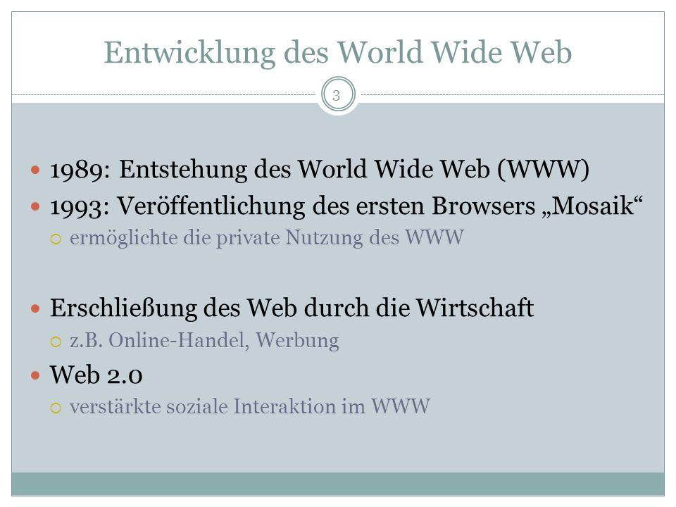 Entwicklung des World Wide Web 1989: Entstehung des World Wide Web (WWW) 1993: Veröffentlichung des ersten Browsers Mosaik ermöglichte die private Nut
