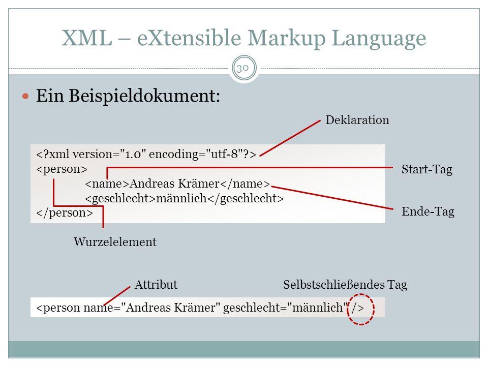 XML – eXtensible Markup Language Ein Beispieldokument: Andreas Krämer männlich Deklaration Start-Tag Ende-Tag Wurzelelement AttributSelbstschließendes