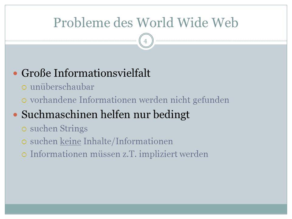 Probleme des World Wide Web Große Informationsvielfalt unüberschaubar vorhandene Informationen werden nicht gefunden Suchmaschinen helfen nur bedingt