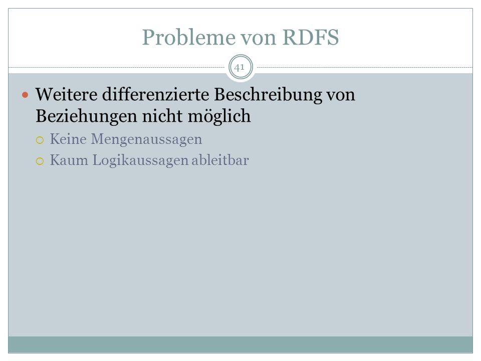 Probleme von RDFS Weitere differenzierte Beschreibung von Beziehungen nicht möglich Keine Mengenaussagen Kaum Logikaussagen ableitbar 41