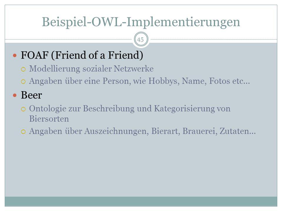 Beispiel-OWL-Implementierungen FOAF (Friend of a Friend) Modellierung sozialer Netzwerke Angaben über eine Person, wie Hobbys, Name, Fotos etc… Beer O