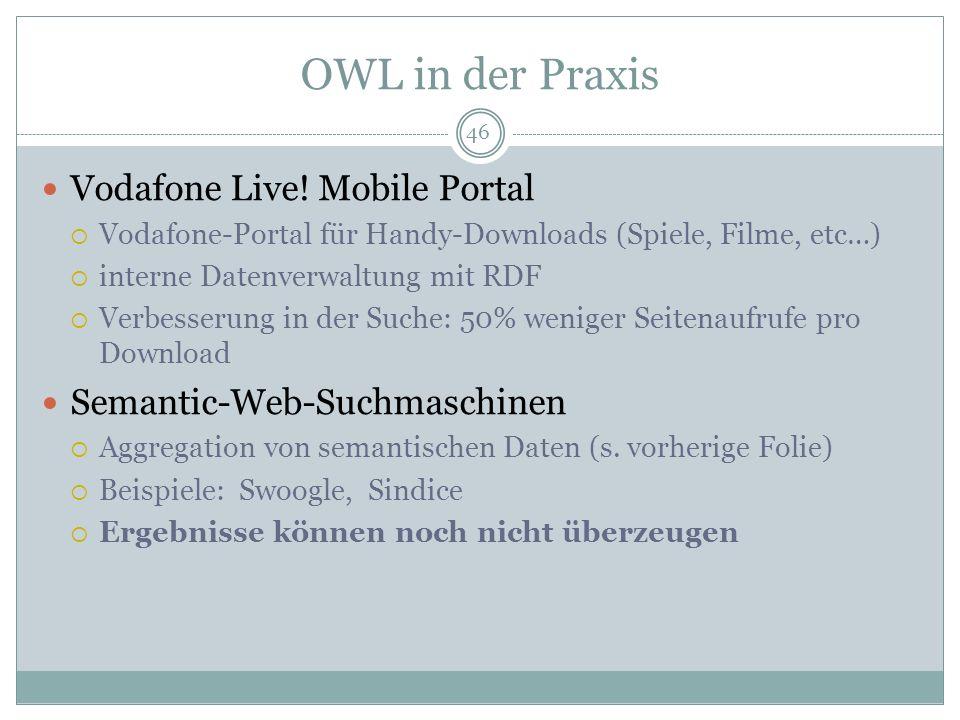 OWL in der Praxis Vodafone Live! Mobile Portal Vodafone-Portal für Handy-Downloads (Spiele, Filme, etc…) interne Datenverwaltung mit RDF Verbesserung