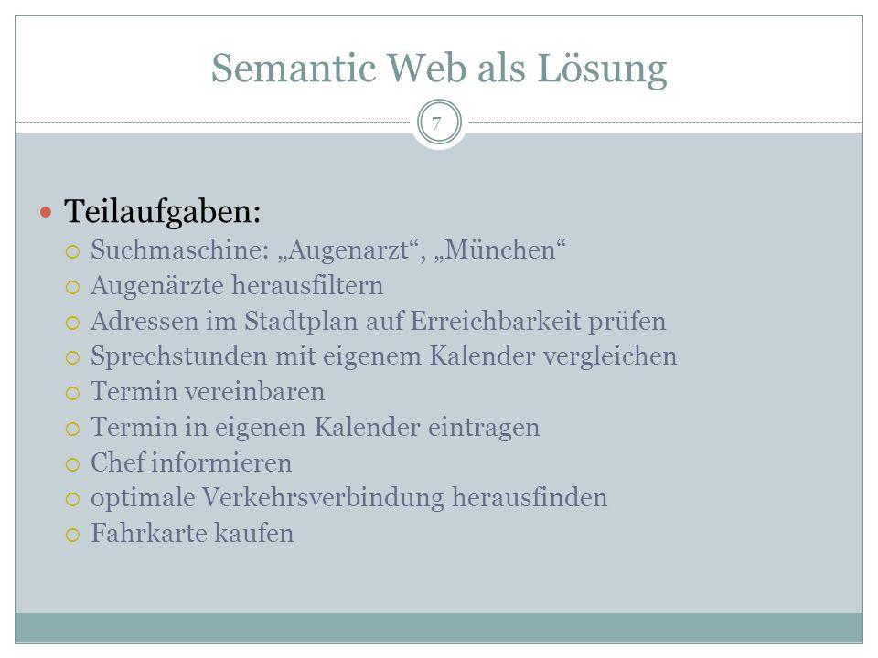 Semantic Web als Lösung klassisches Web: Online-Suche Kommunikation über E-Mail Semantic Web: Informationen über Informationen (Metadaten) Beziehungen zwischen Informationen kann hergestellt werden neue Informationen können impliziert werden => ermöglicht maschinelle Erfassung von komplexen Systemen 8