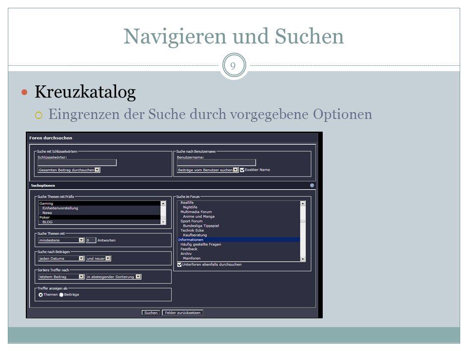 Navigieren und Suchen Kreuzkatalog Eingrenzen der Suche durch vorgegebene Optionen 9