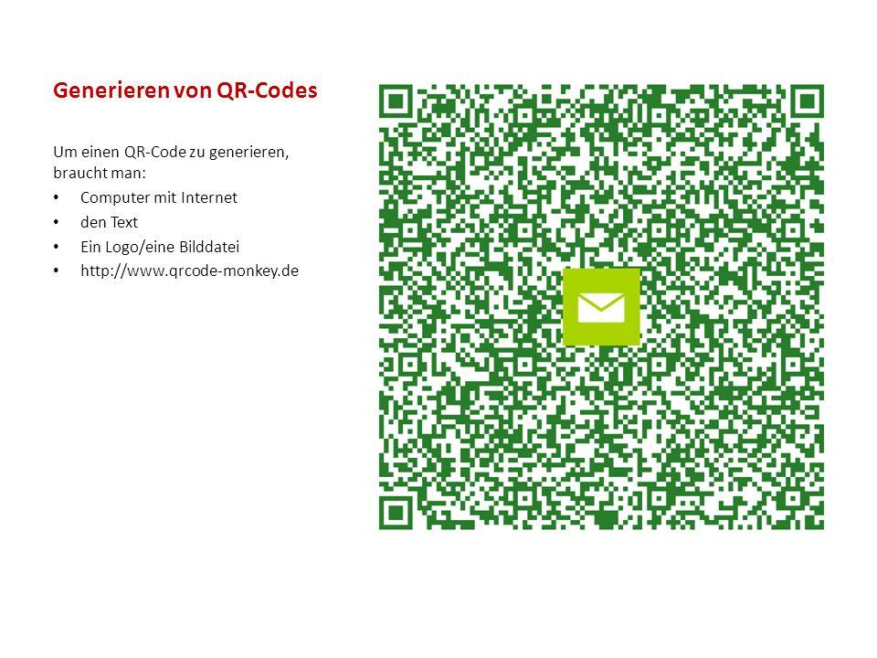 Generieren von QR-Codes Um einen QR-Code zu generieren, braucht man: Computer mit Internet den Text Ein Logo/eine Bilddatei http://www.qrcode-monkey.de