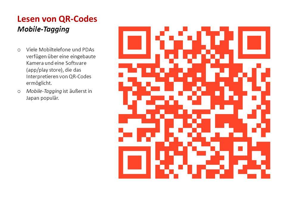 Lesen von QR-Codes Mobile-Tagging o Viele Mobiltelefone und PDAs verfügen über eine eingebaute Kamera und eine Software (app/play store), die das Interpretieren von QR-Codes ermöglicht.