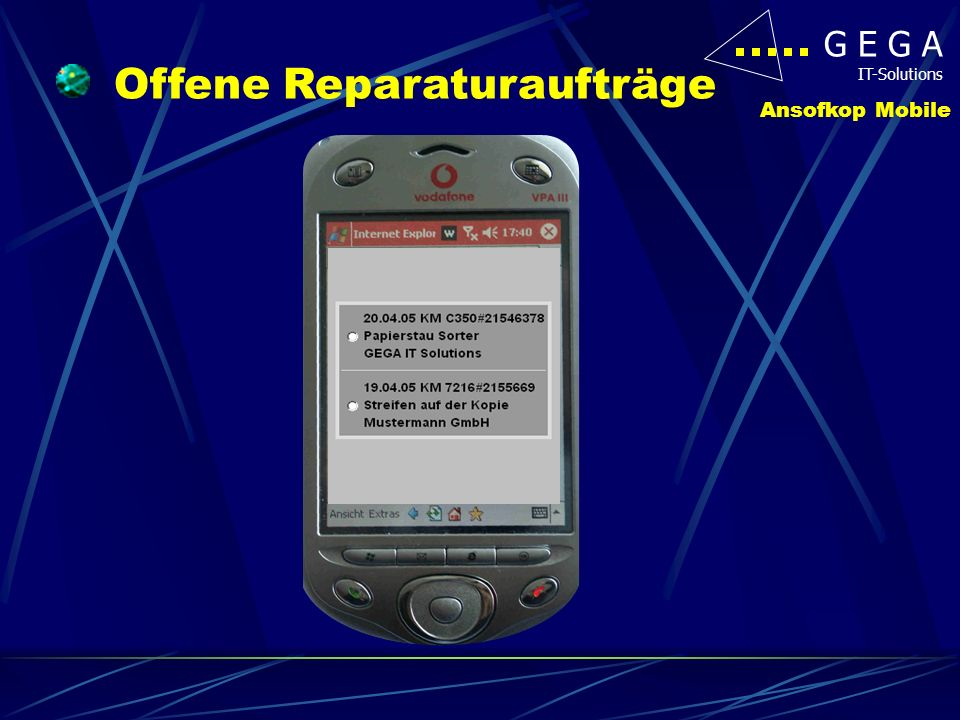 G E G A IT-Solutions Ansofkop Mobile Offene Reparaturaufträge