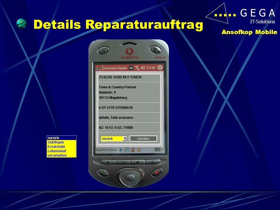 G E G A IT-Solutions Ansofkop Mobile Zeit/Zähler eingeben