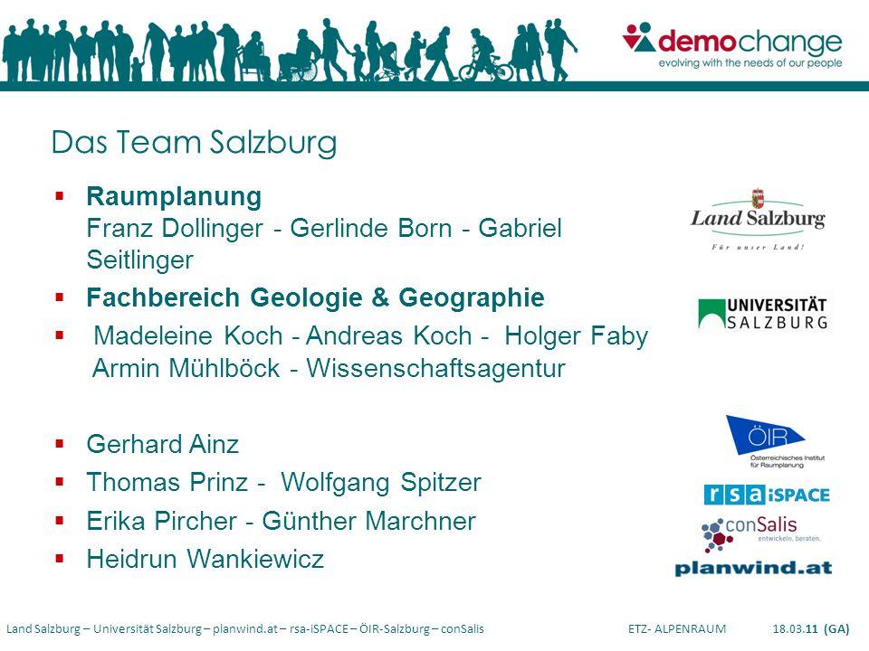 Land Salzburg – Universität Salzburg – planwind.at – rsa-iSPACE – ÖIR-Salzburg – conSalis ETZ- ALPENRAUM 18.03.11 (GA) Das Team Salzburg Raumplanung F