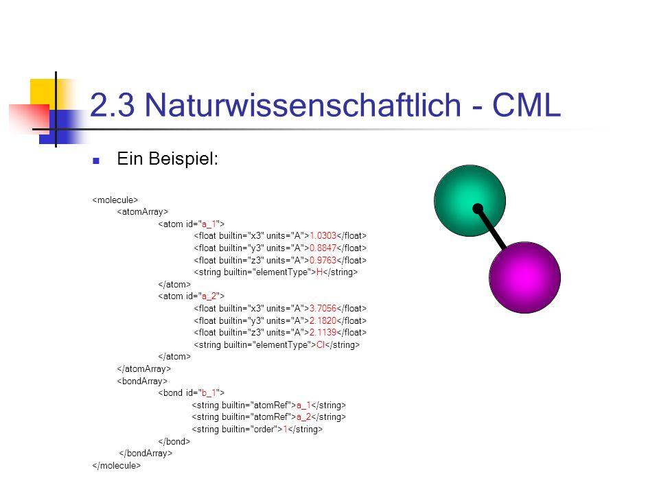 2.3 Naturwissenschaftlich - CML Ein Beispiel: 1.0303 0.8847 0.9763 H 3.7056 2.1820 2.1139 Cl a_1 a_2 1