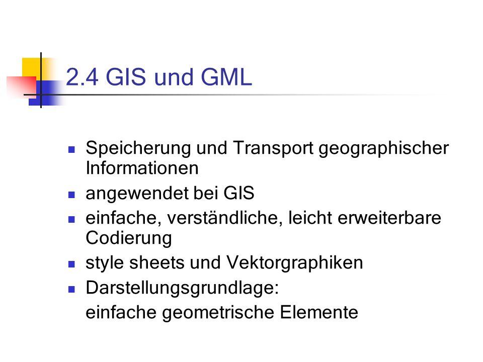 2.4 GIS und GML Speicherung und Transport geographischer Informationen angewendet bei GIS einfache, verständliche, leicht erweiterbare Codierung style sheets und Vektorgraphiken Darstellungsgrundlage: einfache geometrische Elemente