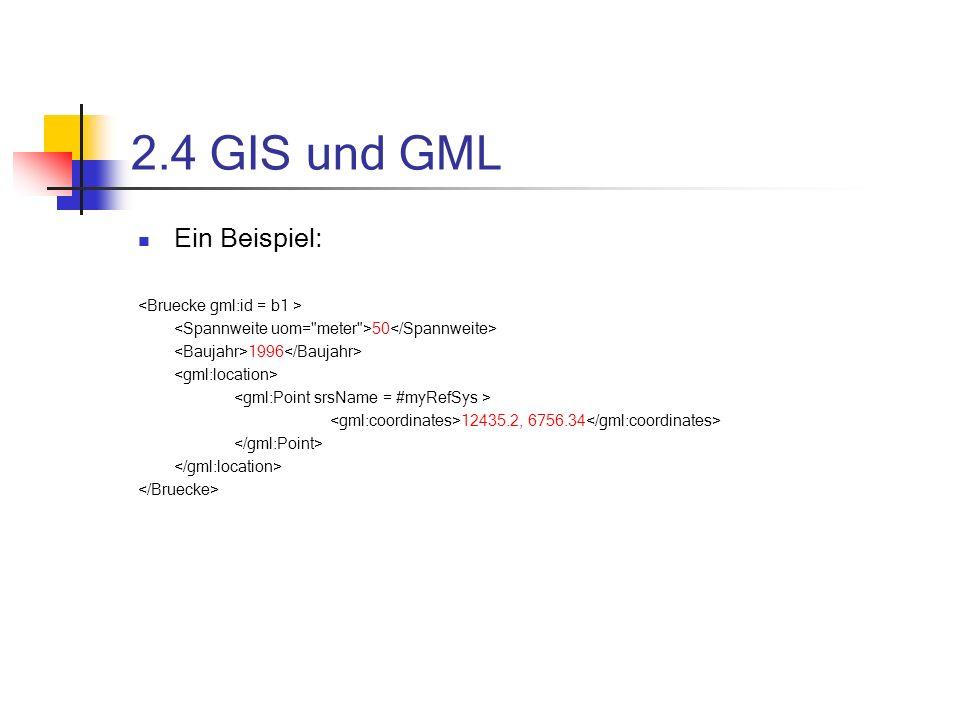 2.4 GIS und GML Ein Beispiel: 50 1996 12435.2, 6756.34