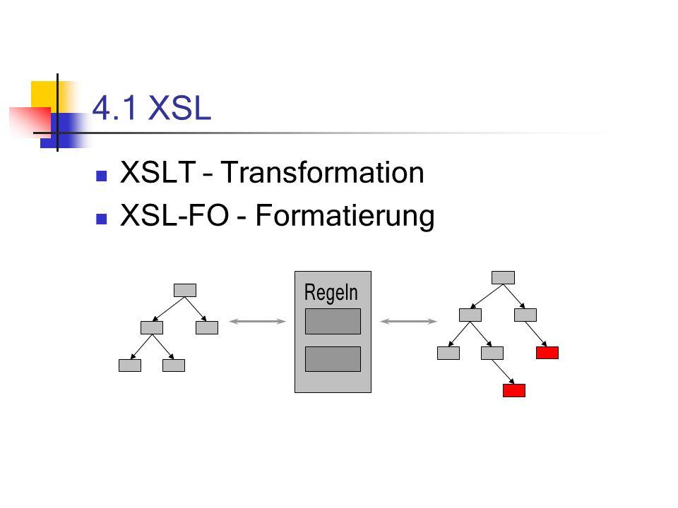 4.1 XSL XSLT – Transformation XSL-FO - Formatierung