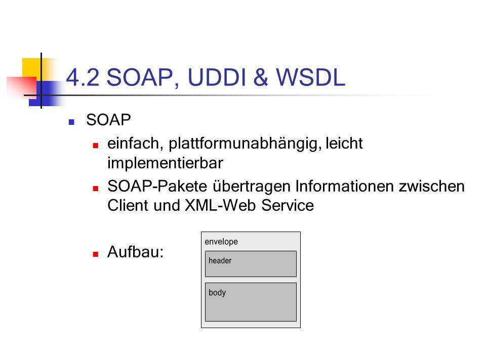 4.2 SOAP, UDDI & WSDL SOAP einfach, plattformunabhängig, leicht implementierbar SOAP-Pakete übertragen Informationen zwischen Client und XML-Web Service Aufbau:
