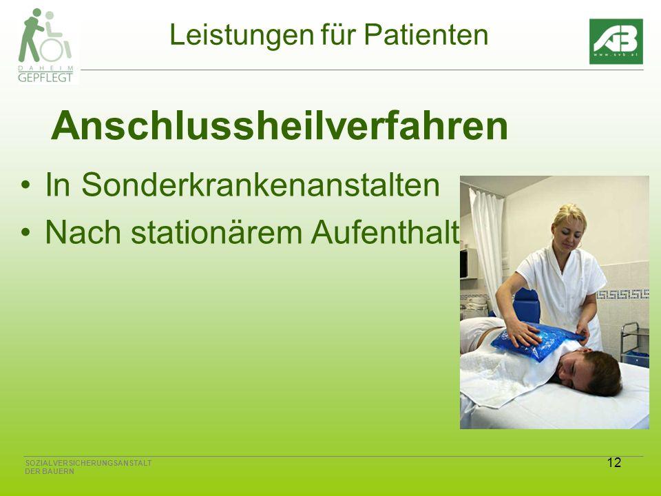 12 SOZIALVERSICHERUNGSANSTALT DER BAUERN Leistungen für Patienten Anschlussheilverfahren In Sonderkrankenanstalten Nach stationärem Aufenthalt