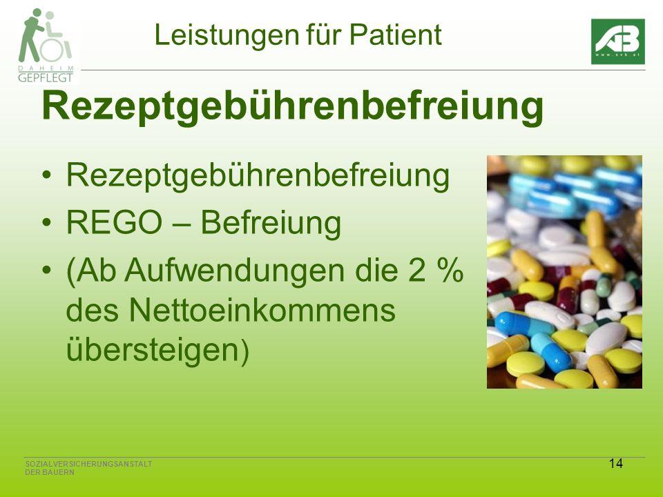 14 SOZIALVERSICHERUNGSANSTALT DER BAUERN Leistungen für Patient Rezeptgebührenbefreiung REGO – Befreiung (Ab Aufwendungen die 2 % des Nettoeinkommens übersteigen )