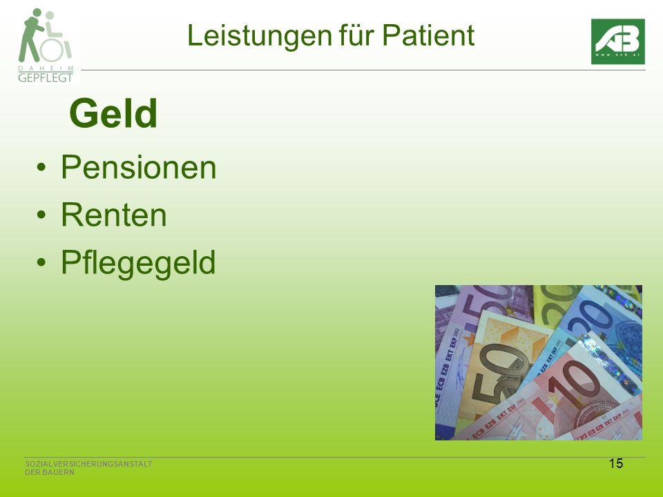 15 SOZIALVERSICHERUNGSANSTALT DER BAUERN Leistungen für Patient Geld Pensionen Renten Pflegegeld