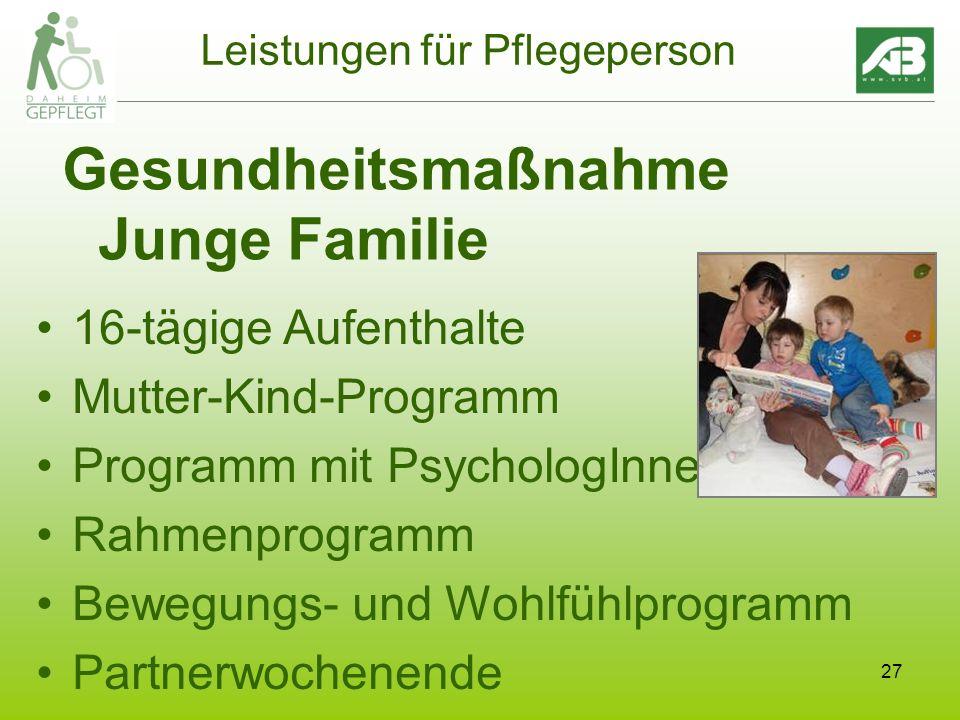 27 Leistungen für Pflegeperson Gesundheitsmaßnahme Junge Familie 16-tägige Aufenthalte Mutter-Kind-Programm Programm mit PsychologInnen Rahmenprogramm Bewegungs- und Wohlfühlprogramm Partnerwochenende