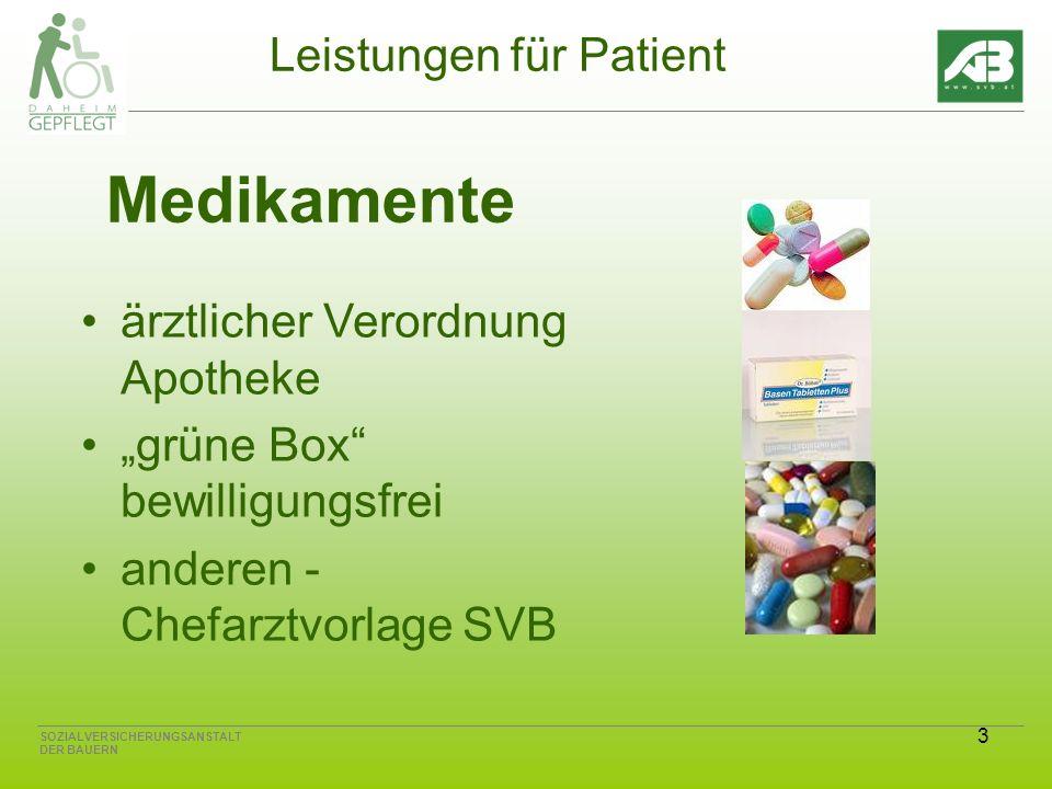 3 SOZIALVERSICHERUNGSANSTALT DER BAUERN Leistungen für Patient Medikamente ärztlicher Verordnung Apotheke grüne Box bewilligungsfrei anderen - Chefarztvorlage SVB