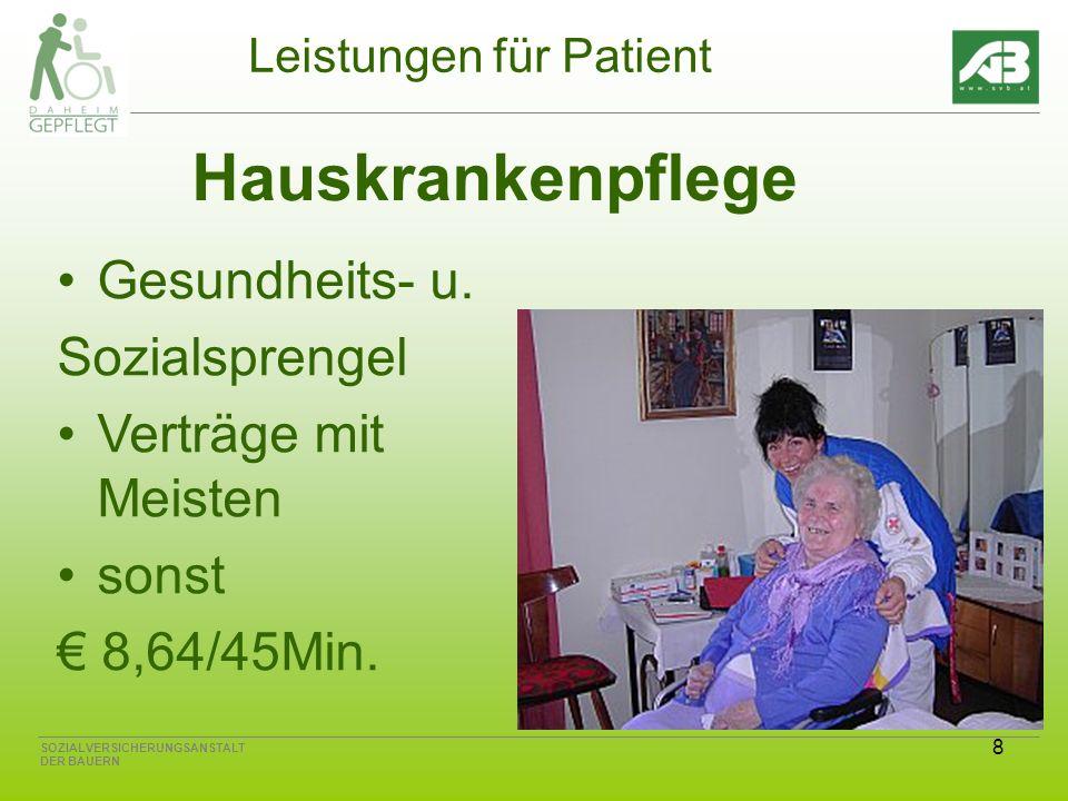 8 SOZIALVERSICHERUNGSANSTALT DER BAUERN Leistungen für Patient Hauskrankenpflege Gesundheits- u. Sozialsprengel Verträge mit Meisten sonst 8,64/45Min.