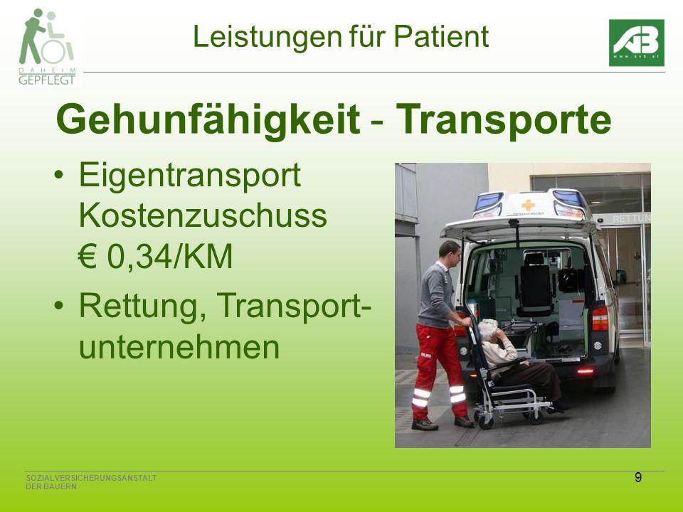 9 SOZIALVERSICHERUNGSANSTALT DER BAUERN Leistungen für Patient Gehunfähigkeit - Transporte Eigentransport Kostenzuschuss 0,34/KM Rettung, Transport- unternehmen